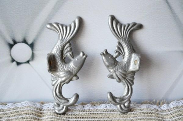 Fish Wall Hooks Set Of 2 Bathroom Decor Metal Coat