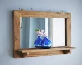 large mirror with shelf, sustainable light wood frame & wide shelf, natural wooden mirror, rustic simplicity custom handmade in Somerset UK