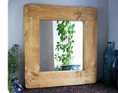 wooden wall mirror with w...