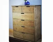 chest of drawers, apothecary cabinet, dressing & bedside table, rustic wood, 112.5 x 90cm, 6 drawers, custom sizes - handmade in Somerset