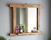 Bathroom styling mirror with narrow cosmetic shelf in natural rustic wood 65W x 55H cm boho, industrial, farmhouse, handmade in Somerset UK