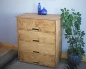 Large chest of drawers in sustainable natural wood, tall dressing table, modern rustic, 90 high x 80 wide cm, custom handmade Somerset UK