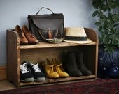 Wooden shoe bench & shoe rack 70 W x 42 H x 27 D cm, dark wood, 2 real wood hall shelves - modern rustic, custom handmade Somerset UK
