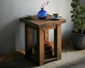 Wooden coffee & end table in natural wood, 45cm square x 55cm tall, dark wood table, bathroom shelving, bedside table, handmade Somerset UK