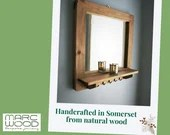 Mirror with shelf & 5 slim coat hooks, wide wooden frame sustainable wood, 60W x 60H cm square - handmade modern rustic style from Somerset