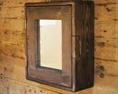 Bathroom mirror cabinet, rustic medicine wall mounted, natural wood over sink vanity, industrial, farmhouse 43.5H x 38.5W x14Dcm Somerset UK
