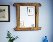 wooden wall mirror, curve...