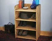 wooden shoe bench & shoe rack 80 H x 54 W x 38 D cm, eco solid wooden hall shelves - tall, narrow bookcase, custom handmade in Somerset UK