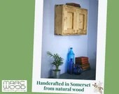 wooden wall cabinet & cupboard for hallway, utility, custom meter cupboard modern rustic, sustainable natural wood, handmade in Somerset UK