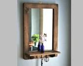Wooden mirror with shelf & 3 cast iron key coat hooks 76H X 52W cm dark wood hallway mirror, salon, bathroom, hat rack, handmade Somerset UK
