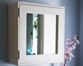 White bathroom mirror cabinet 56Hx54Wx18D cm, large white bathroom vanity with 3 shelves, rustic simplicity custom handmade in Somerset UK