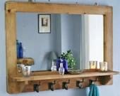 large mirror with shelf & 5 iron hooks, sustainable real wood mirror, hallway coat hooks, 90W x 65H cm - custom handmade in Somerset UK
