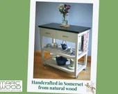 NOT free delivery ** Kitchen island granite top, side towel rail, 2 drawers, storage & vegetable shelf, natural wood, modern rustic Somerset