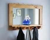 large mirror with shelf & 5 hooks, pale wooden frame in natural eco friendly wood, custom sizes, handmade modern rustic style in Somerset