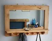 large mirror with shelf, 5 coat hooks, natural wood, hallway mirror, bathroom salon mirror, rustic simplicity custom handmade in Somerset UK