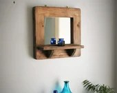 wood mirror with shelf, thick wide natural wood frame, candle shelf, styling mirror, modern rustic farmhouse, custom handmade in Somerset UK