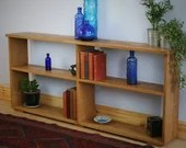 long, low wooden book shelf in eco fallen Oak timbers, 62H x 143W x 22D cm, modern rustic farmhouse style designed & handmade in Somerset UK