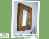 wooden wall mirror, chunky natural wood small frame, dark wood rustic finish, custom handmade in modern farmhouse style from Somerset UK