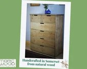 NOT free delivery, Large chest of drawers, apothecary cabinet, rustic dressing table 112.5H x 90W cm, 6 drawers, custom handmade in Somerset