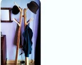 wooden hat coat stand 1.6 m tall, 8 upcycled coat hooks in pale eco wood - modern rustic hall furniture & storage handmade in Somerset UK
