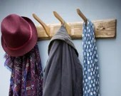wooden coat hooks, wall mounted coat hangers cleverly upcycled to create our 68.5cm modern rustic coat rack handmade in Somerset UK
