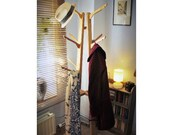 NOT free delivery ** Hat & coat stand 1.6 m tall, 12 wood coat hooks, sustainable natural wood, modern rustic hall tree -  from Somerset UK