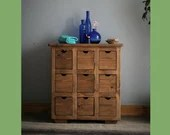Apothecary cabinet for bathroom, vanity dresser in sustainable natural wood, modern cut out handles, chunky tabletop,  custom handmade in UK