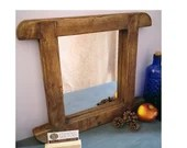 wood wall mirror, dark wo...