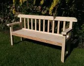 garden bench seat 180 cm long, in natural solid wood, rustic country cottage outdoor & garden furniture custom handmade by us in Somerset UK
