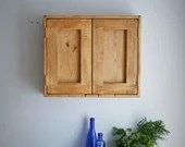 wooden bathroom wall cabinet, modern rustic, 50H x 60W x 14D cm, double doors, 2  shelves, natural light wood - custom handmade Somerset UK