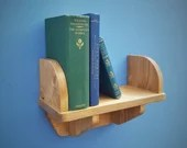 small wooden wall shelf with book ends and wood brackets 44 cm long x 15 cm deep, custom handmade rustic simplicity furniture in Somerset UK