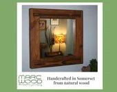 square wall mirror with thick frame in natural sustainable wood, decorative wall mirror handmade in modern rustic style from Somerset UK