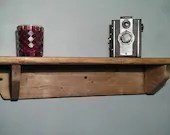 wood wall shelf, chunky eco wood, 62cm long x 15cm deep - custom sizes - modern rustic farmhouse style designed & handmade in Somerset UK