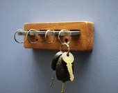 key hooks, key holder, premium hard wood & upcycled metal pegs, 18cm wide, modern rustic industrial style handmade in Somerset UK