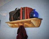 hat & coat rack shelf with hooks, hallway or porch bookshelf 90cm long, 4 wood hanger coat hooks, sustainable natural wood handmade Somerset