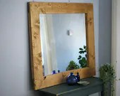 very large wooden wall mirror, chunky sustainable natural light wood frame 100 x 90 cm, custom handmade modern rustic style in Somerset UK
