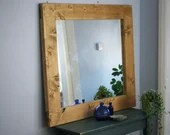 large wooden wall mirror, chunky sustainable natural light wood frame 100 x 90 cm, custom handmade modern rustic style in Somerset UK