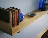 wide wooden shelf with brackets & chunky book end, sustainable natural wood, 114 L x 21 D cm, rustic simplicity custom handmade in Somerset
