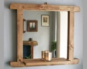 Hallway mirror with narrow shelf in natural rustic wood 65W x 55H cm boho, industrial, farmhouse style curved frame, handmade in Somerset UK
