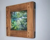 A4 wooden frame for photo & picture, large dark wood frame,  chunky modern rustic style, landscape, portrait, custom handmade in Somerset UK