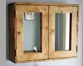 Large wooden bathroom cabinet, double mirrored doors, natural wood medicine mirror cabinet wide over sink vanity custom handmade Somerset UK