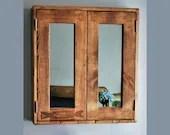 Large bathroom mirror cabinet, dark wood, rustic medicine cabinet, over sink 60Wx65Hx14D cm, 2 doors, 3 shelves, custom handmade Somerset UK