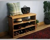 Hallway shoe rack, wooden shoe bench, mud room bench, rustic hall shelves, in natural wood 60H x90Wx29D cm, Somerset UK *Not free delivery