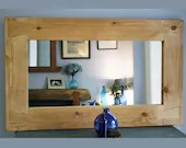 Wooden wall mirror with natural rustic chunky pale frame, for hallway, living room, bathroom, large 100 x 60 cm, custom handmade Somerset UK