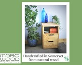 wooden bathroom drawers with shelf, additional towel storage, natural wood 60H x 40W x 40D cm, modern rustic farmhouse, made in Somerset UK