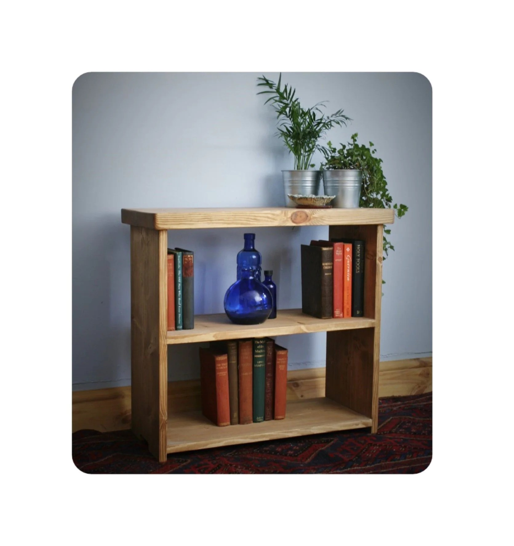Wooden Bookshelf Low Bookcase Or Shelves 65w X 60h X 29d Cm In Eco Wood Chunky Table Style Top Modern Rustic Handmade In Somerset Uk
