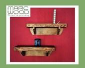 wooden wall shelf, chunky rustic bookshelf with brackets 50 cm L x 15 cm D, farmhouse storage custom handmade in Somerset from natural wood