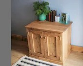Wooden sideboard & large floor standing cabinet, TV stand 2 doors, 1 deep shelf, rustic natural wood made in Somerset UK *not free delivery