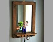 Wooden mirror with shelf & 3 delicate cast iron key coat hooks 76H X 52W cm dark wood hall mirror, salon, bathroom, handmade in Somerset UK