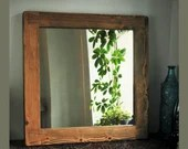 Square wooden wall mirror, rustic natural sustainable wood frame 60 x 60 cm, hallway & bathroom, rustic simplicity handmade in Somerset UK